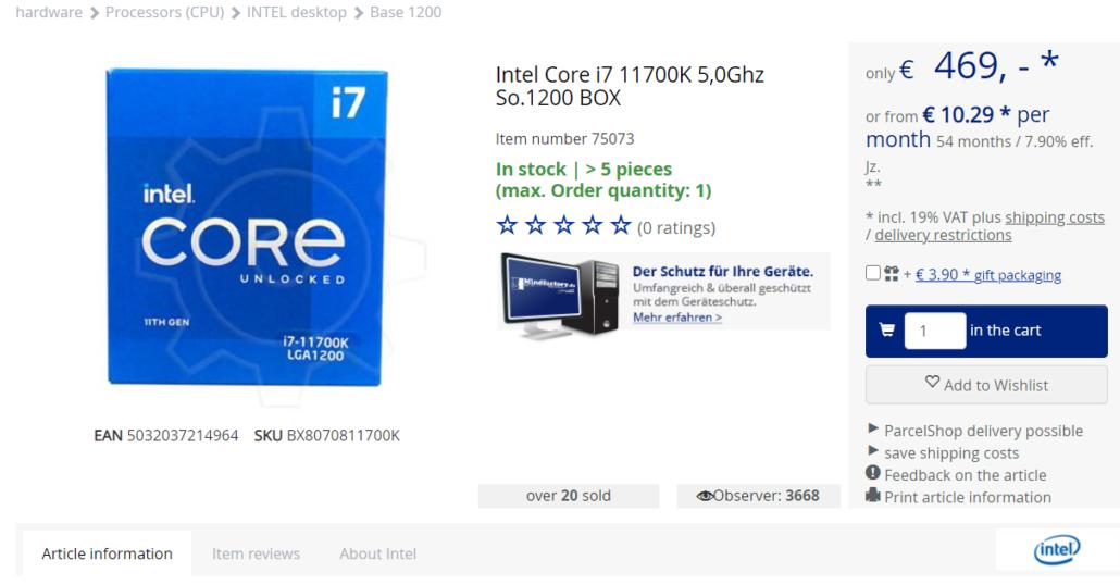 Intel Core i7-11700K 8 Core Rocket Lake Desktop-CPU Vorbestellbar - Frühzeitige Preise bei 469 Euro