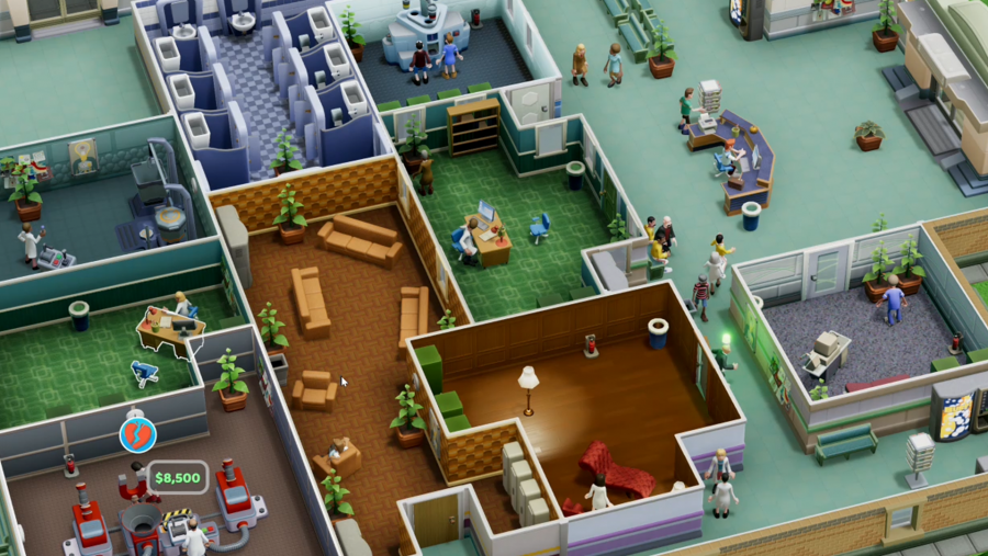 A well run hospital in Two Point Hospital, one of the best management games