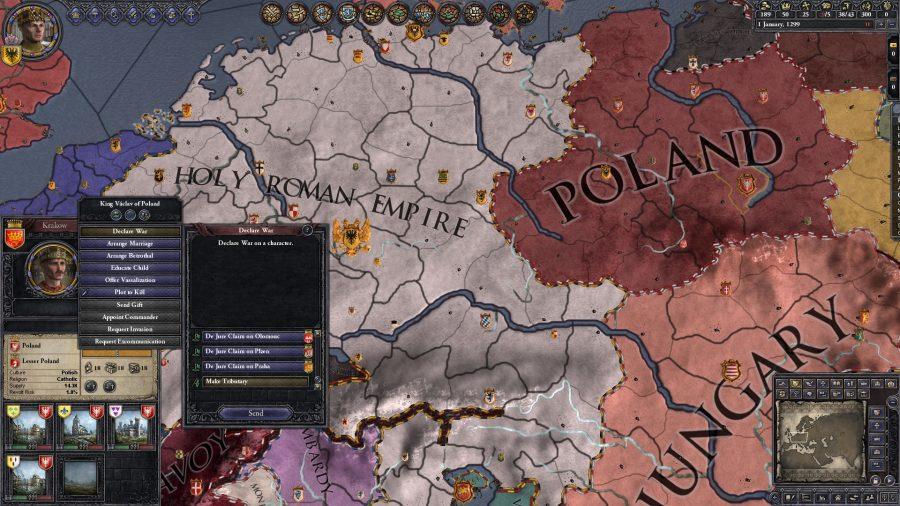The player is considering declaring war on another country. The map is focused around the Holy Roman empire.