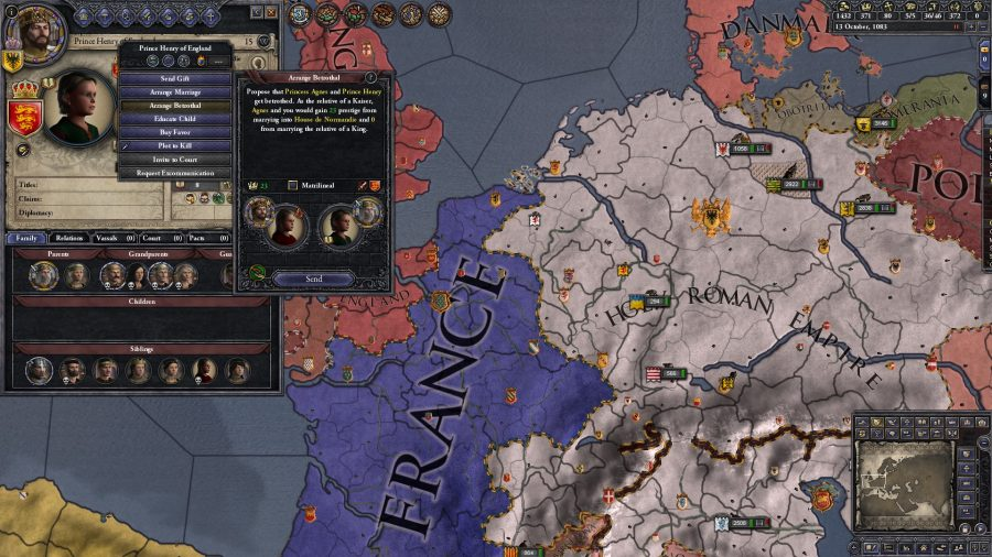 The player is considering having Prince Henry become betrothed to Princess Agnes, marrying into the House de Normandie.