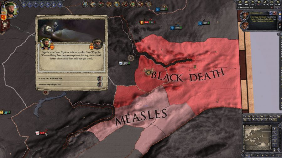 The Black Death is spreading and there's a prompt from the court physician. He's telling the player that one of the dukes has been infected.