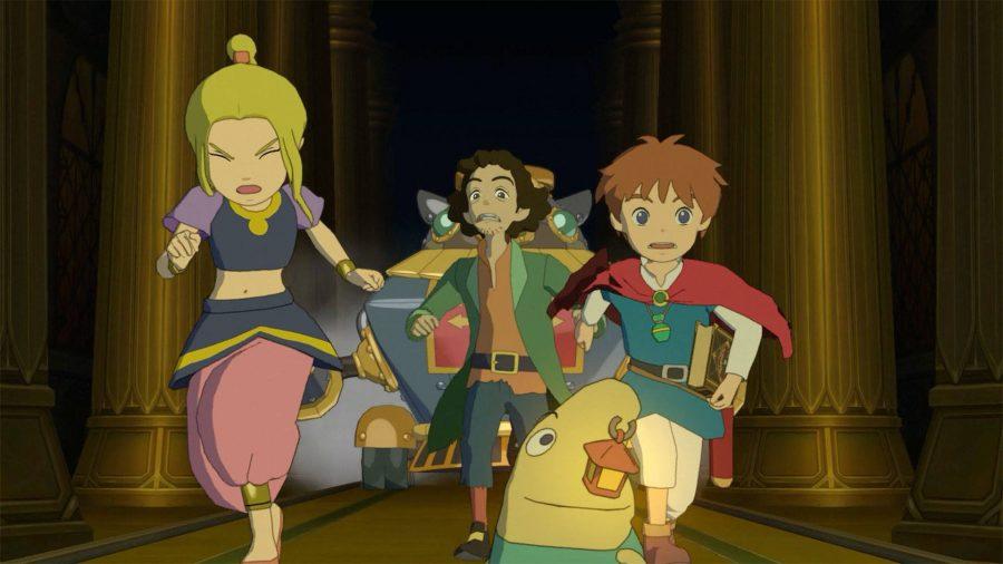 Die Hauptfiguren von Ni No Kuni Wrath von der Weißen Hexe, einem Spiel wie Pokemon, rennen davon.
