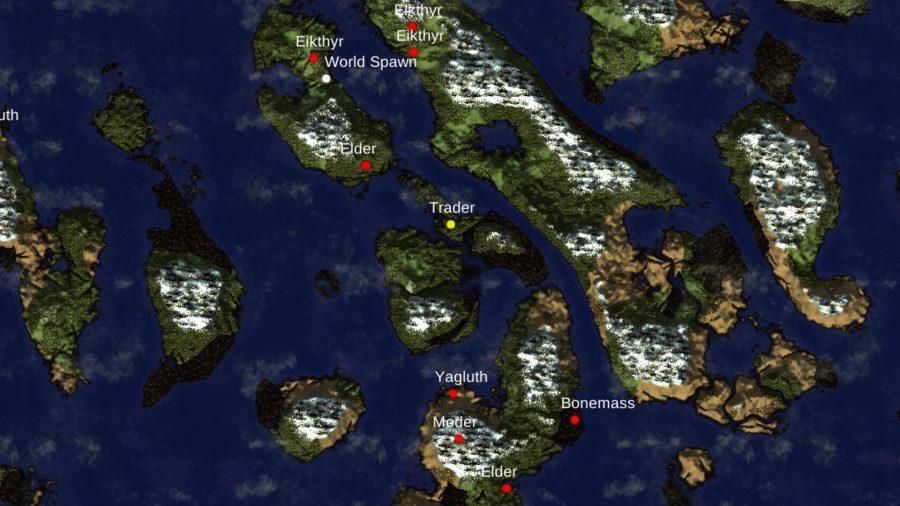 Eine Valheim-Karte mit allen Bossen auf einem langen Landstreifen