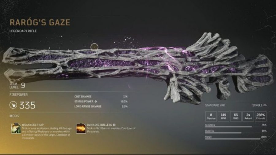 Eine legendäre Waffe der Outriders, bedeckt mit grauen, steinigen Adern, zwischen denen leuchtend lila Kristalle leuchten