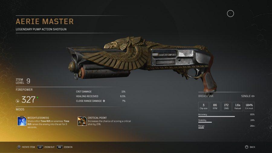 Eine legendäre Waffe von Outriders mit einem stilisierten Adler, auf dem Flügel ausgebreitet sind