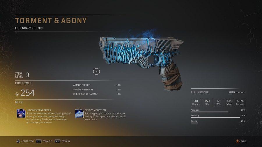 Eine legendäre Waffe von Outriders, die erodiert aussieht und von leuchtend blauem Licht bedeckt ist