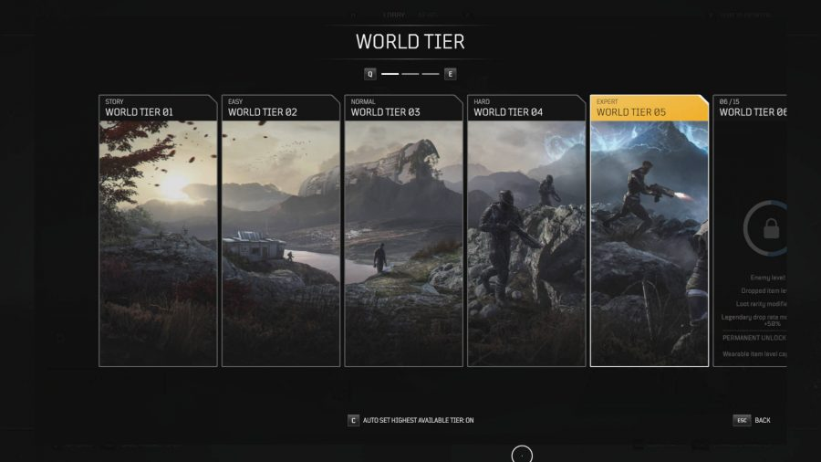 Der World Tier-Bildschirm in Outriders. Sie müssen World Tier 5 sein, um legendäre Beute zu züchten.