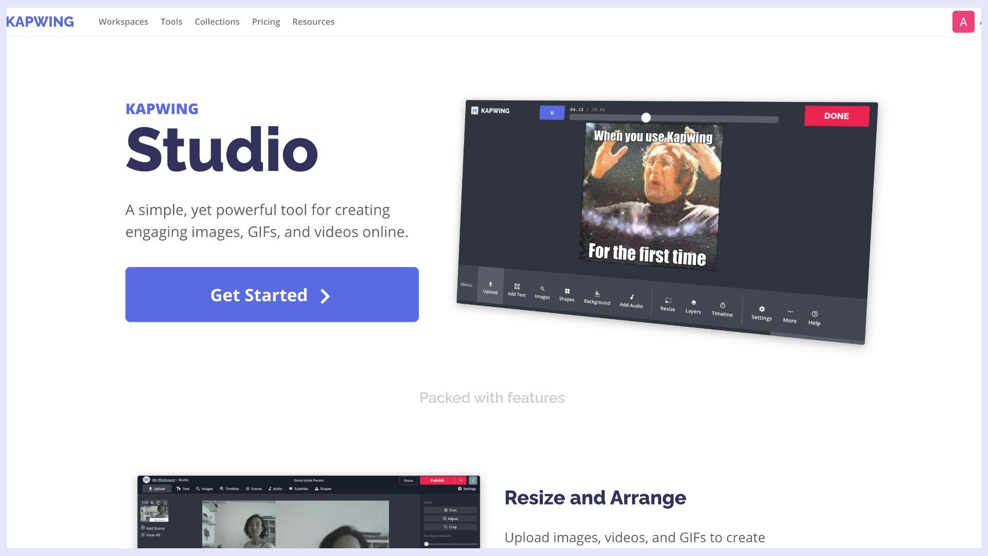 ein Screenshot von Kapwing Studio