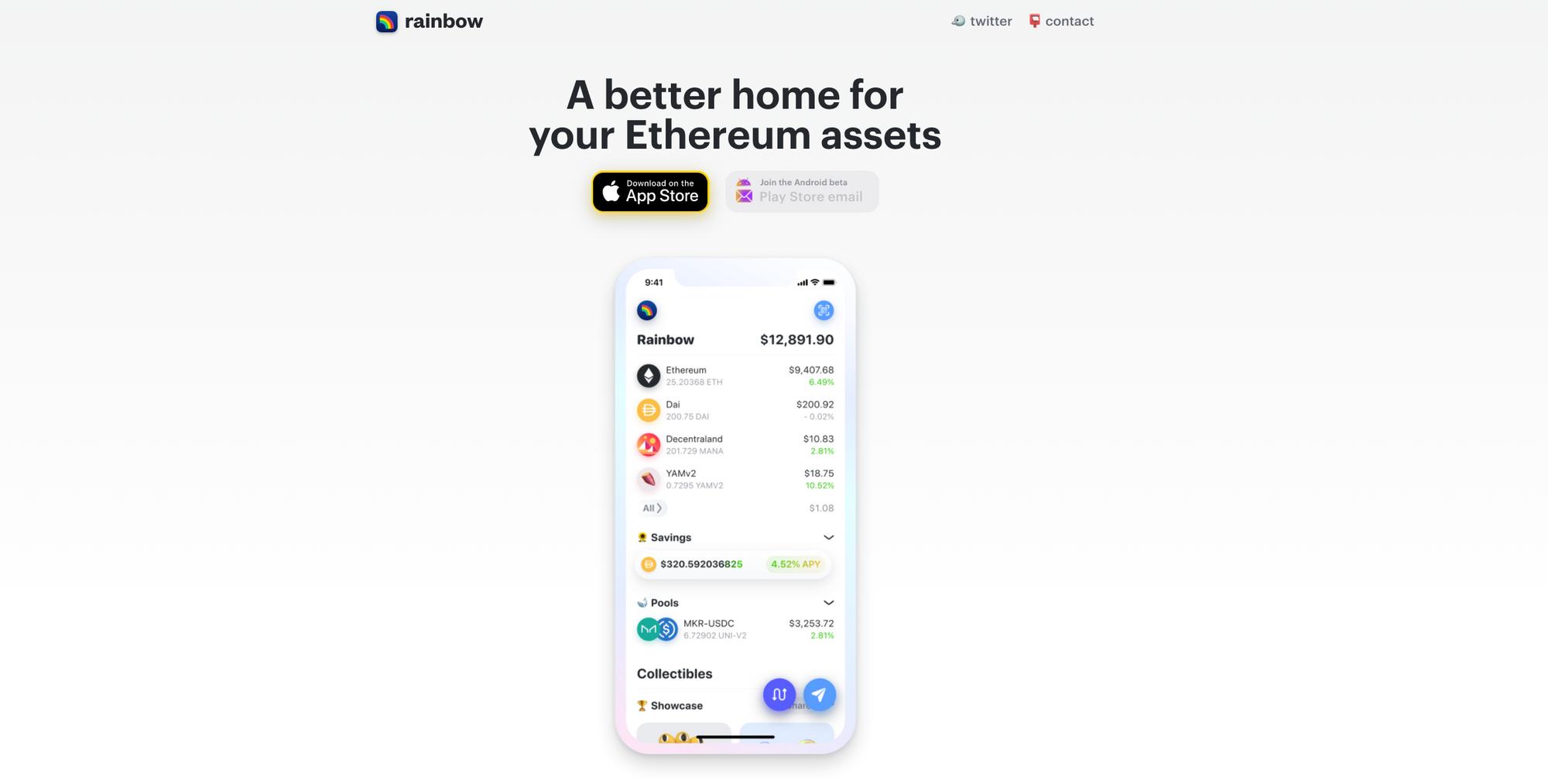 Ein Marketing-Image für die Rainbow Ethereum-Brieftasche für iOS und Android