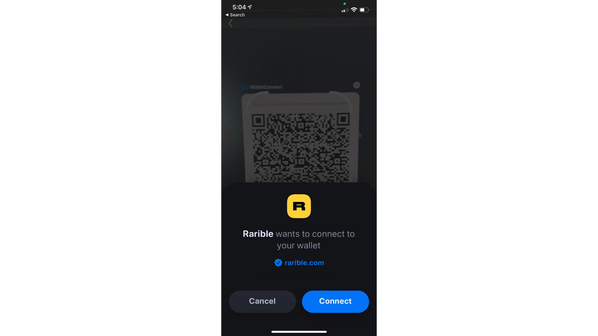 Der Bildschirm, der eine Verbindung zu einer Ethereum-Brieftasche herstellt