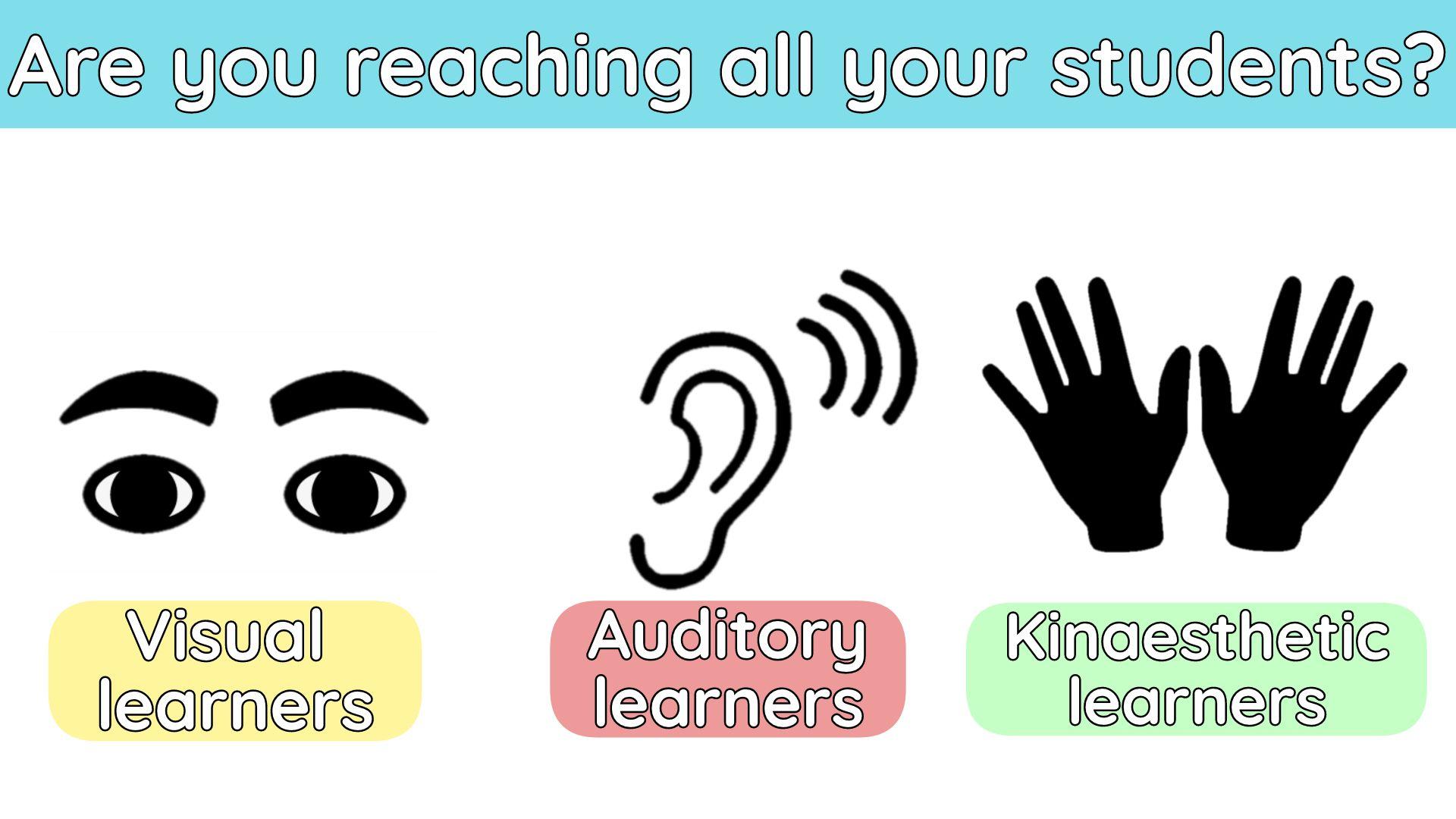 Eine Infografik, die die drei Arten von Lernenden beleuchtet.