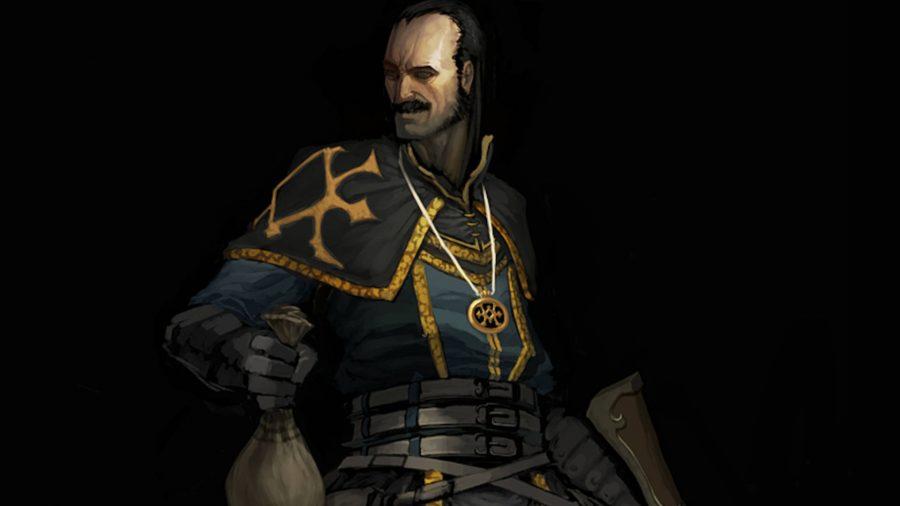 Der Schurke von Diablo 3 hält eine Tüte Geld in der Hand und grinst.