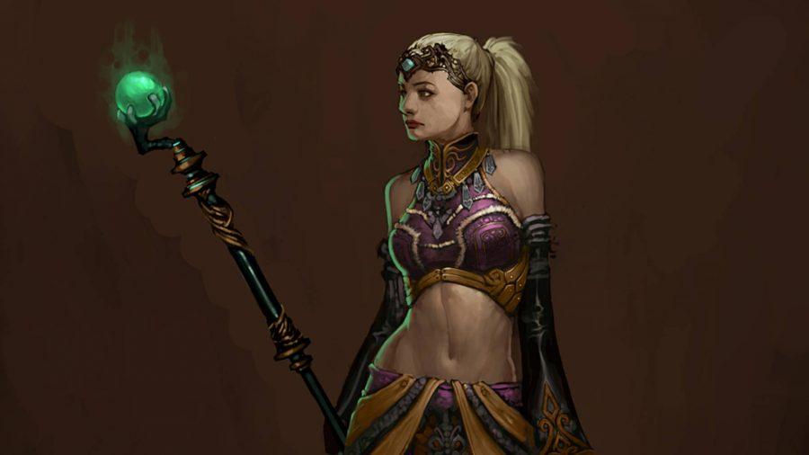 Der Enchantress-Anhänger in Diablo 3 hat einen Stab mit einer hellgrünen Kugel oben.