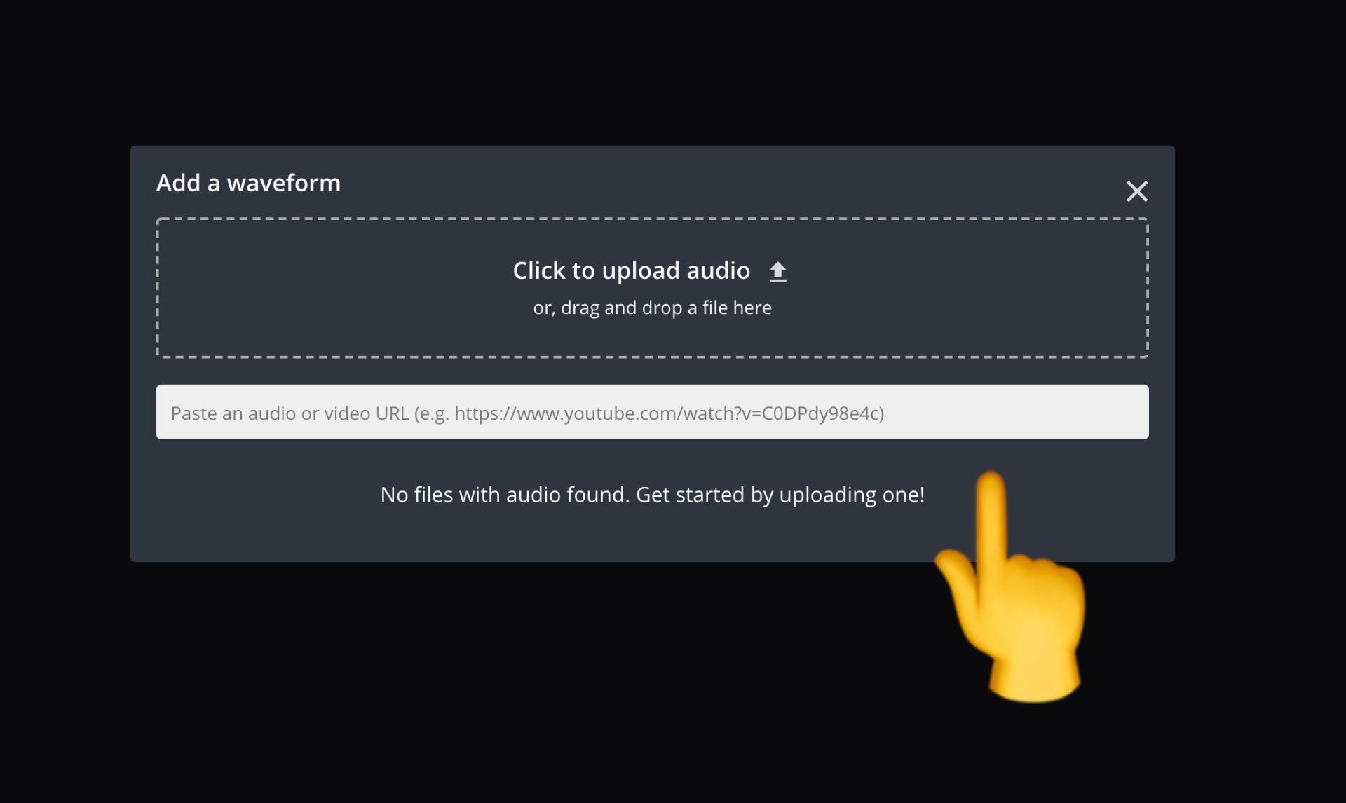 Screenshot, wo ein Link zu einer Audiodatei hochgeladen oder eingefügt werden soll