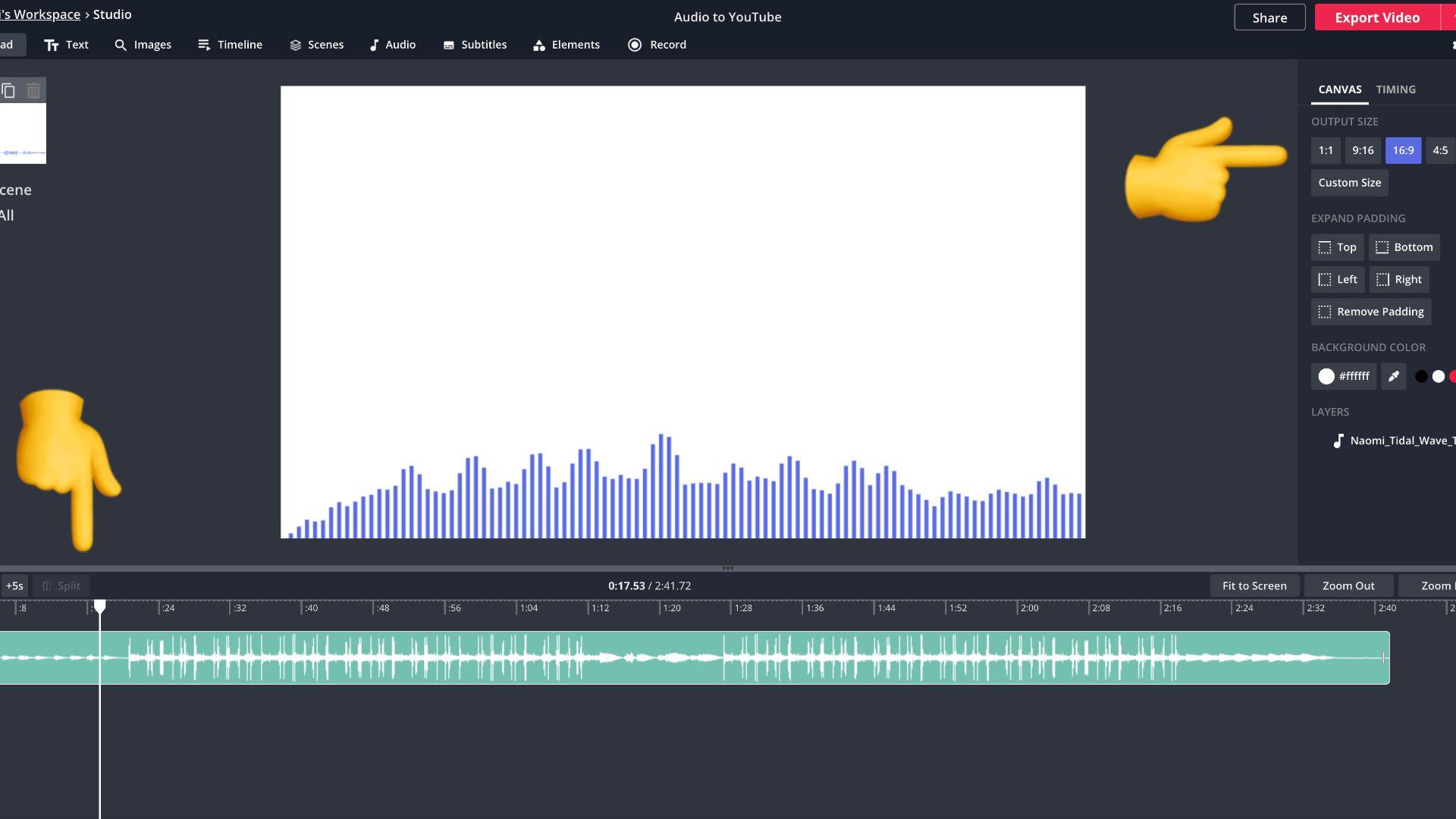 Screenshot einer Audiodatei in Kapwing Studio