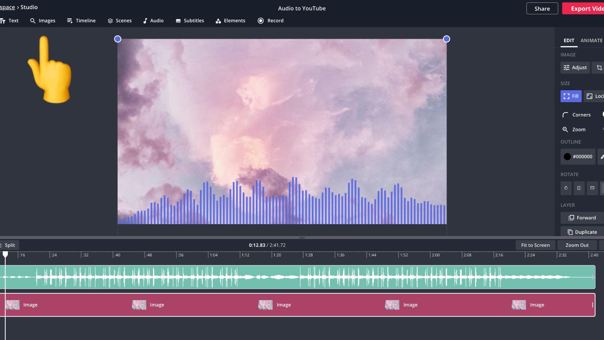 Screenshot eines Videos mit Wellenform in Kapwing Studio
