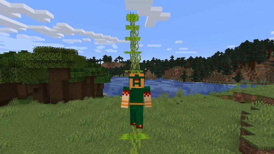Eine Treppe aus Tropfblättern. Der Spieler steigt die Treppe hinauf und eines der Blätter unter seinen Füßen hängt herab.