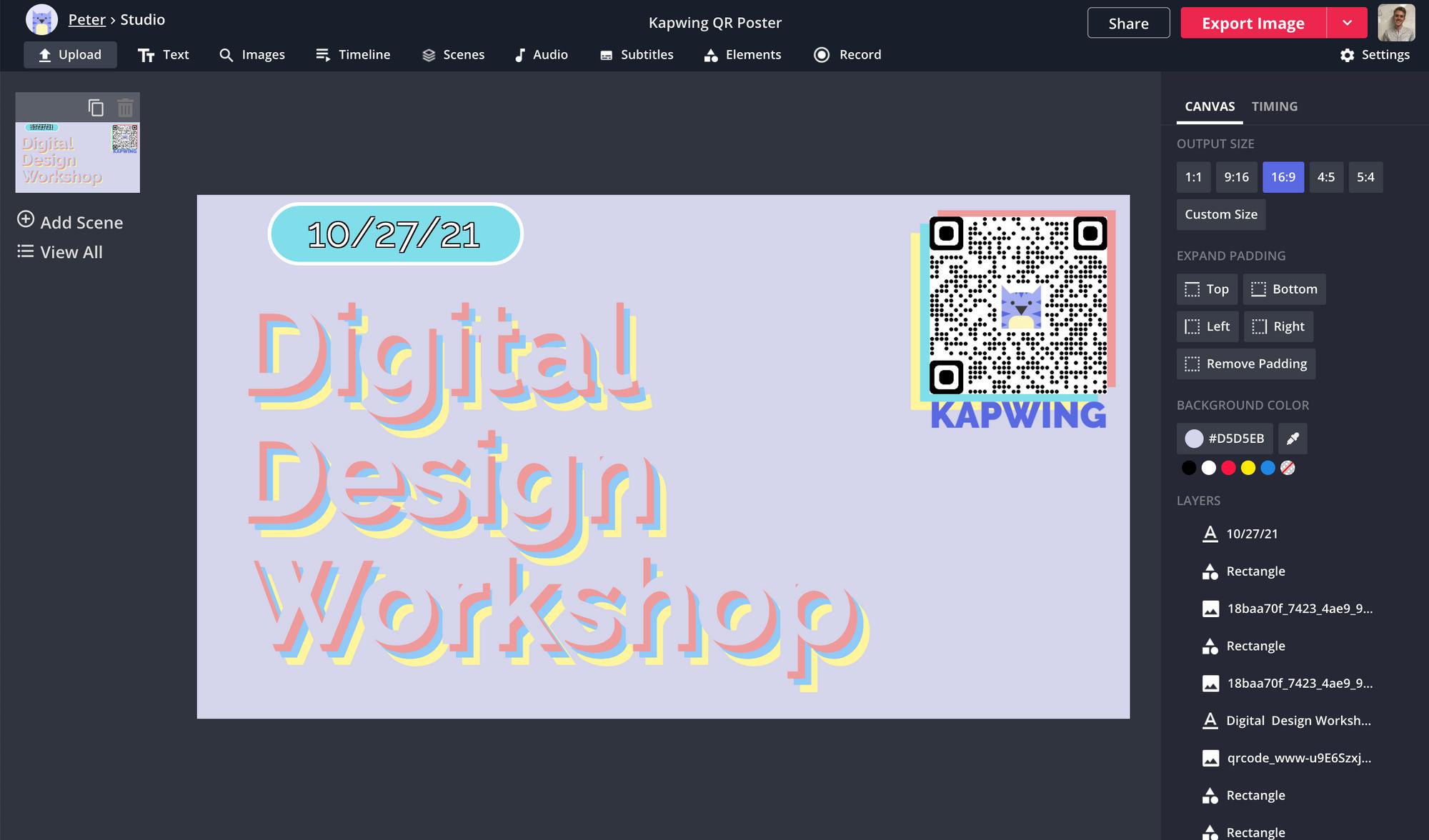 Ein Screenshot eines QR-Codes, der angepasst und an ein Poster im Kapwing Studio angehängt wird.