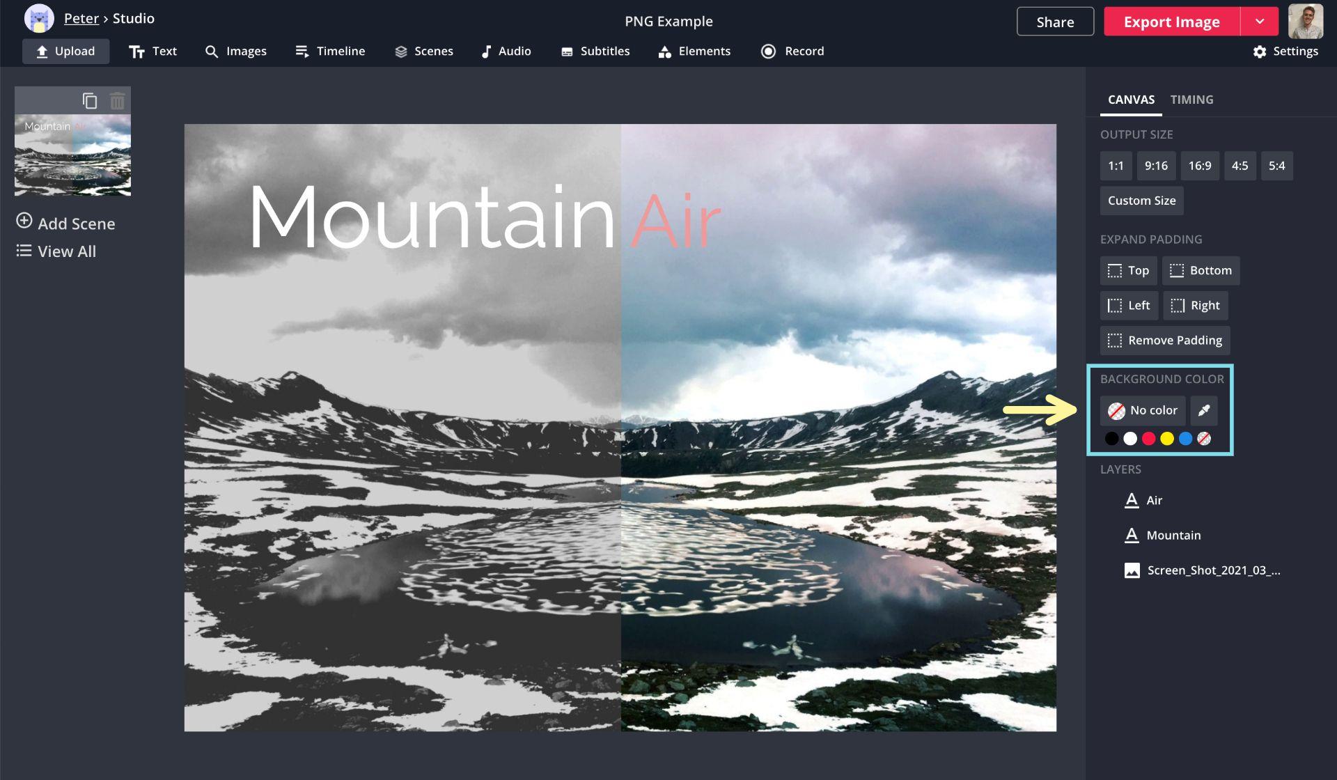 Ein Screenshot zeigt, wie Bilder als PNG-Dateien im Kapwing Studio exportiert werden.