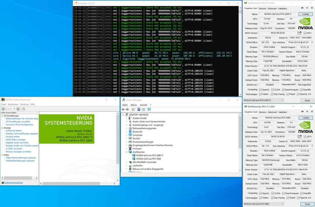 NVIDIA GeForce RTX 3060 Cryptocurrency Mining-GPU-Hash-Ratenbegrenzungsumgehung mit Dummy-HDMI