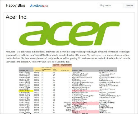 Acer Ransomware-Angriff