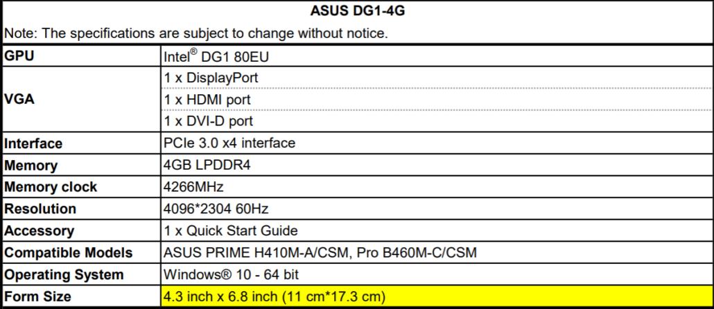 ASUS DG1-4G Intel Xe-LP Diskrete GPU-basierte Grafikkarte