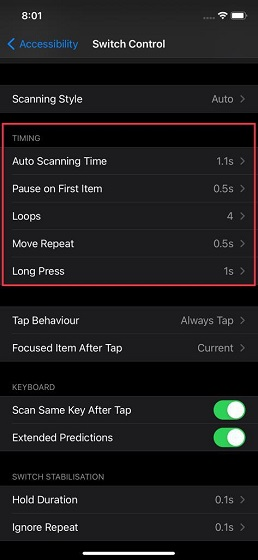 Fine-tune Switch Control timing