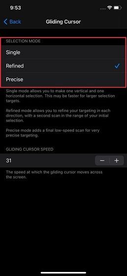 Customize gliding cursor