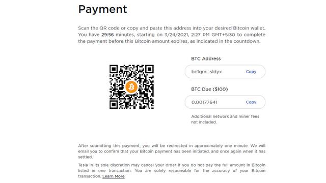 Tesla Bitcoin-Zahlungsseite