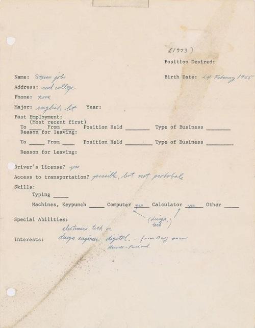 Steve Jobs Bewerbung von 1973