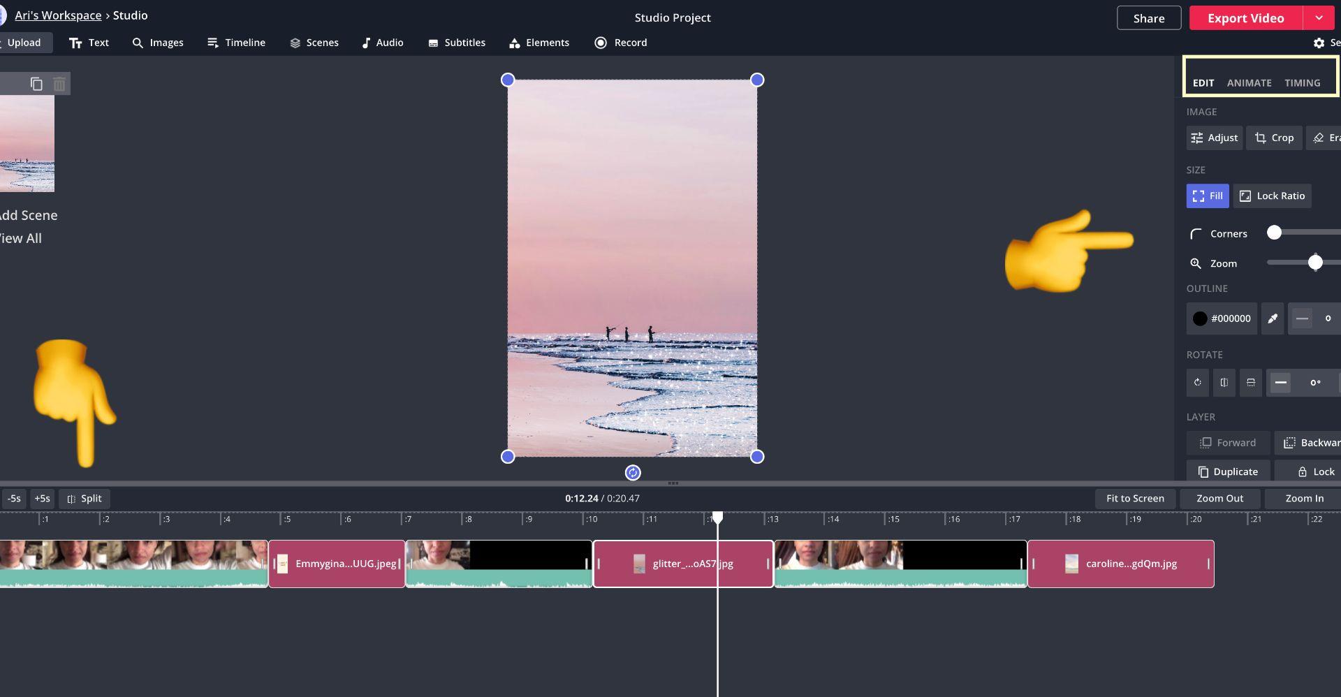 Screenshot von Kapwing Studio mit Emoji-Pfeilen, die auf das Teilungswerkzeug zeigen