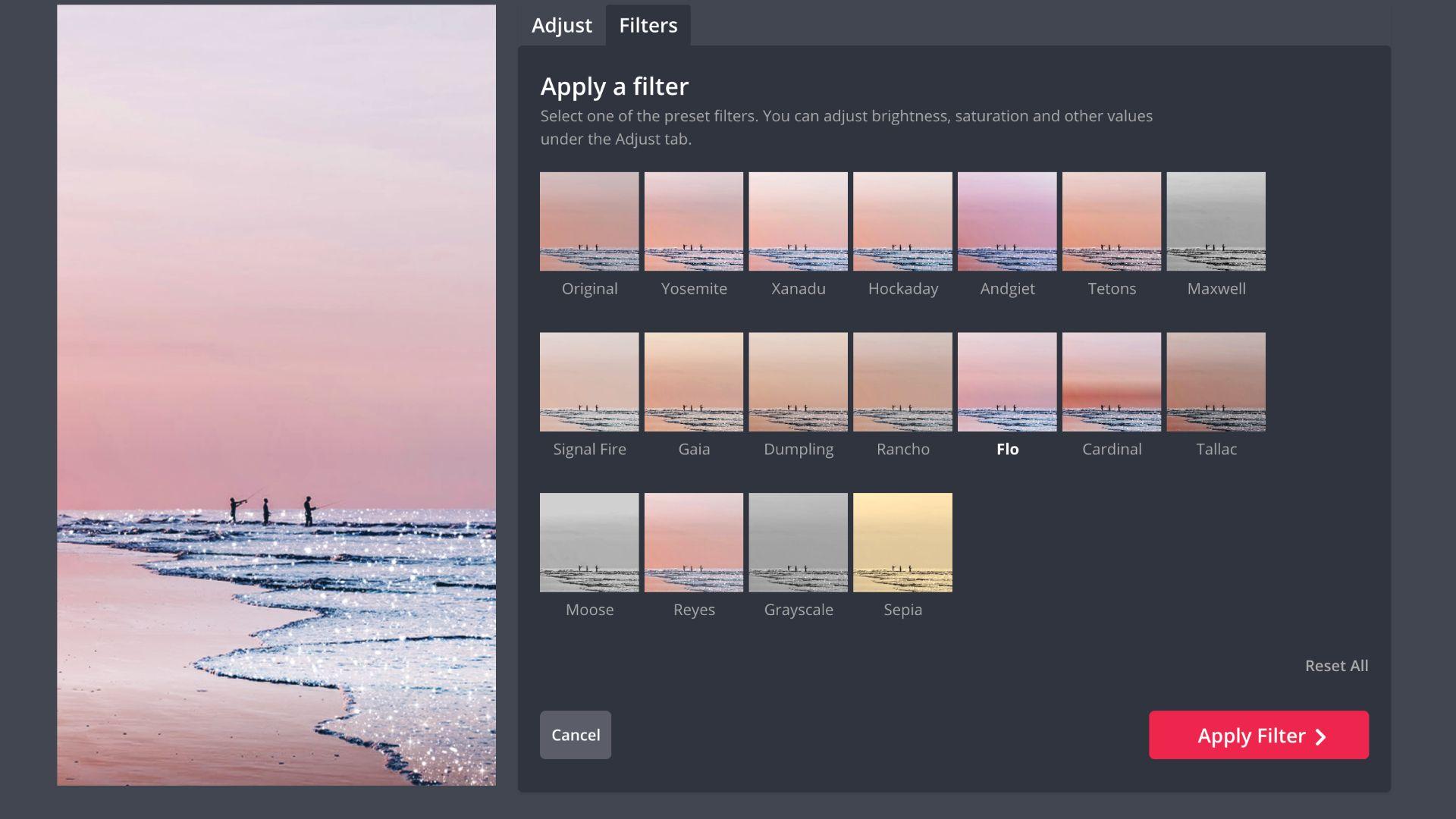 Screenshot mit der Filtersammlung in Kapwing Studio