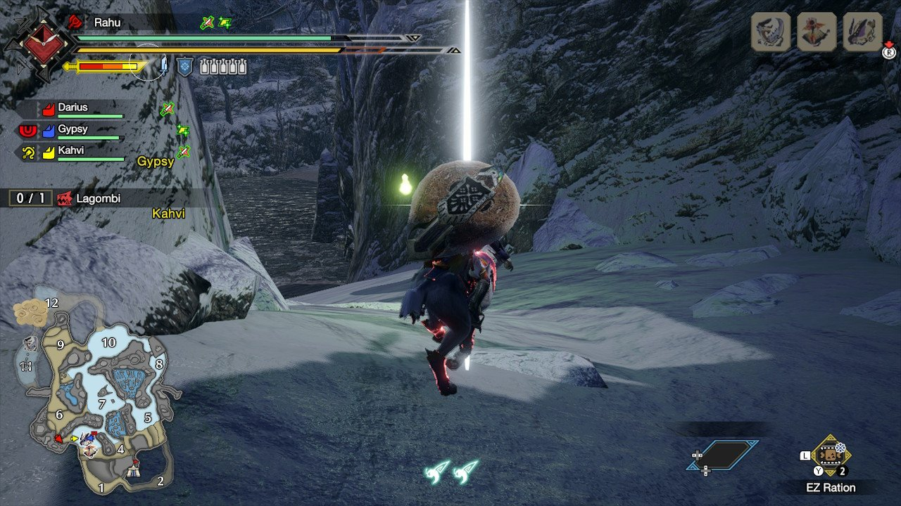The hunter swinging through the air using their wirebug