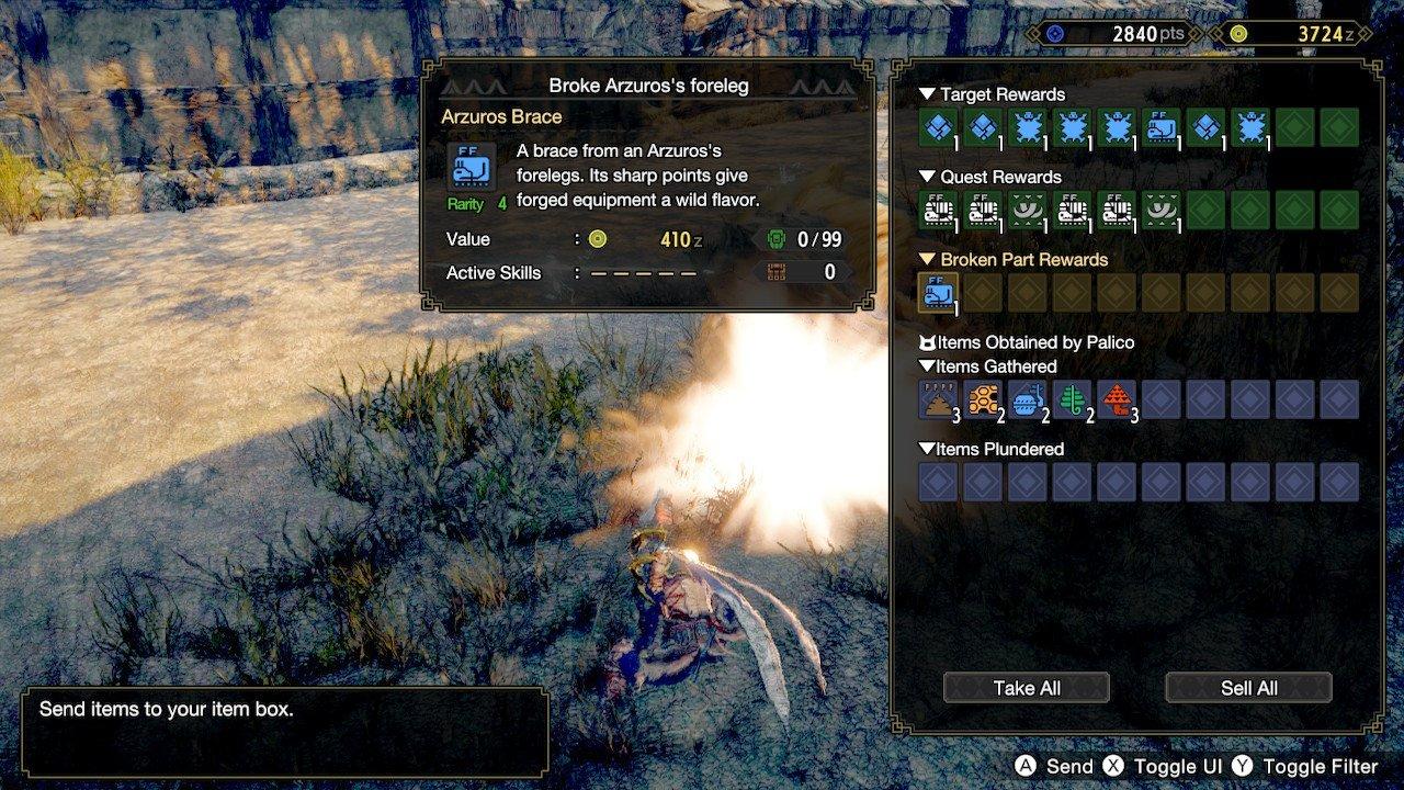 A menu showing parts rewarded for a hunt