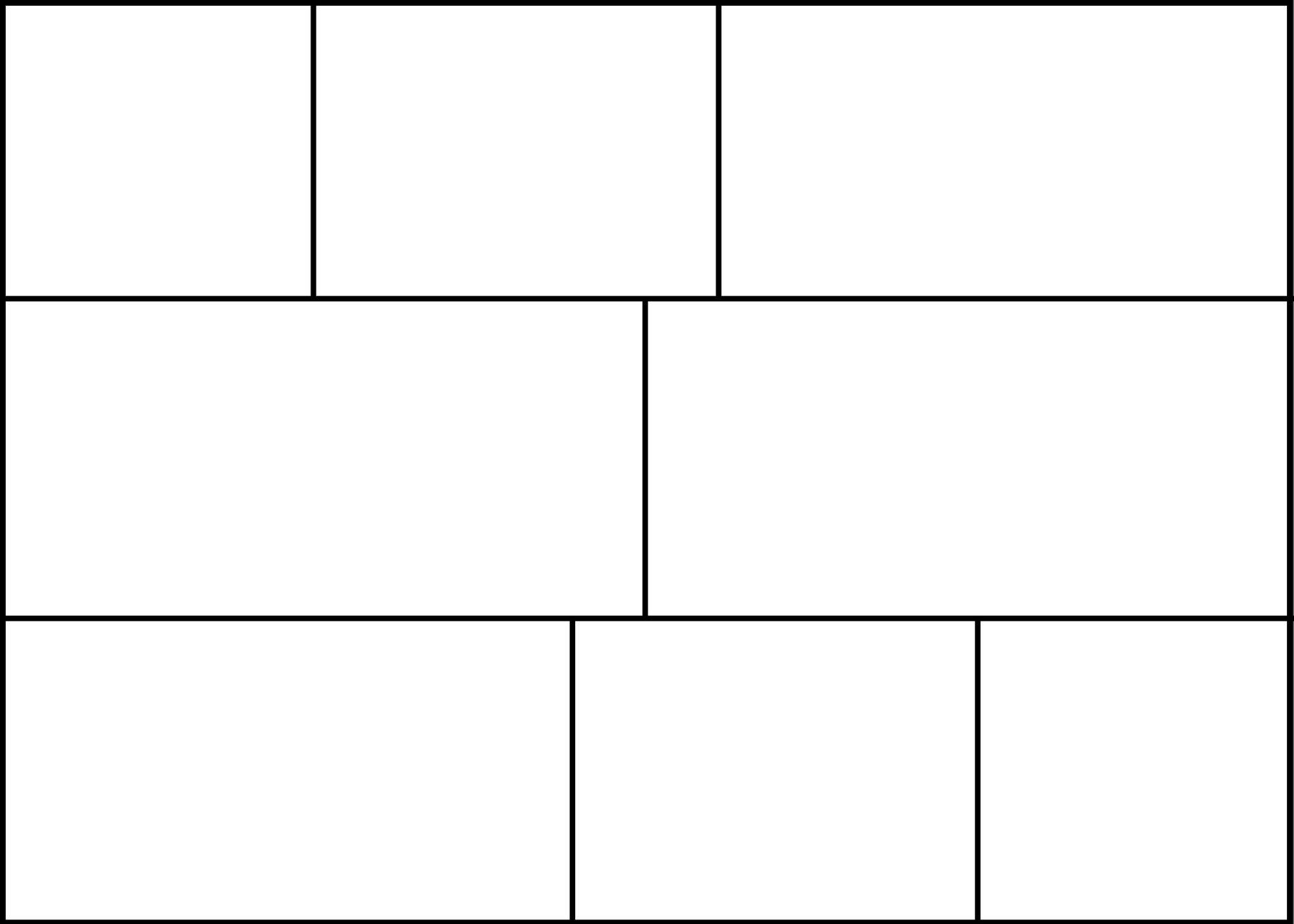 Eine 8-Panel-Comic-Vorlage mit einem Seitenverhältnis von 7: 5.