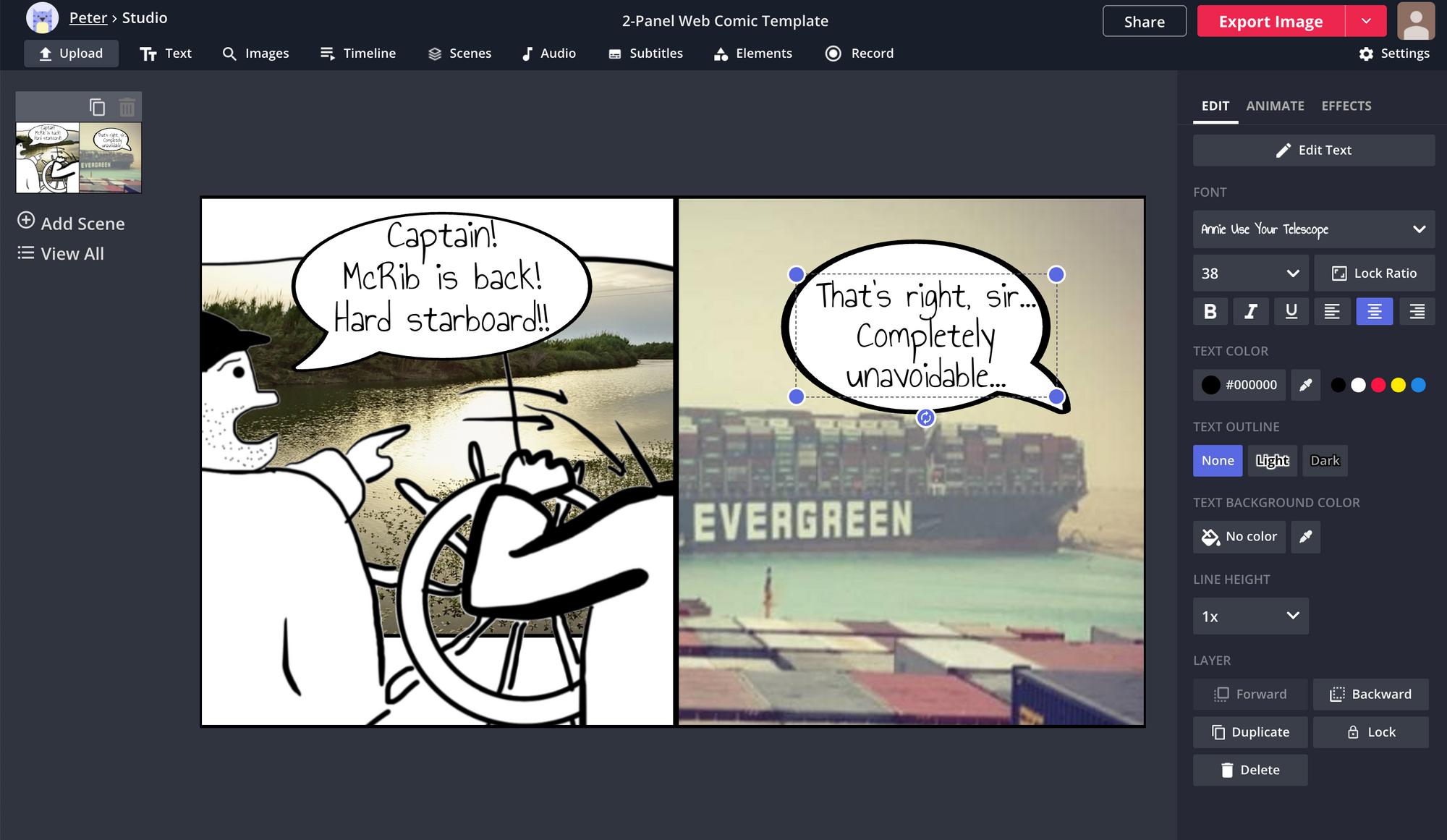 Ein Screenshot zeigt, wie Sie einem Comic-Strip im Kapwing Studio Text hinzufügen und bearbeiten.