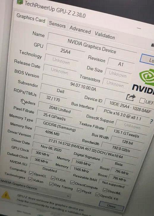 NVIDIA GeForce RTX 3050 Grafikkarte Ampere GA107 GPU-z