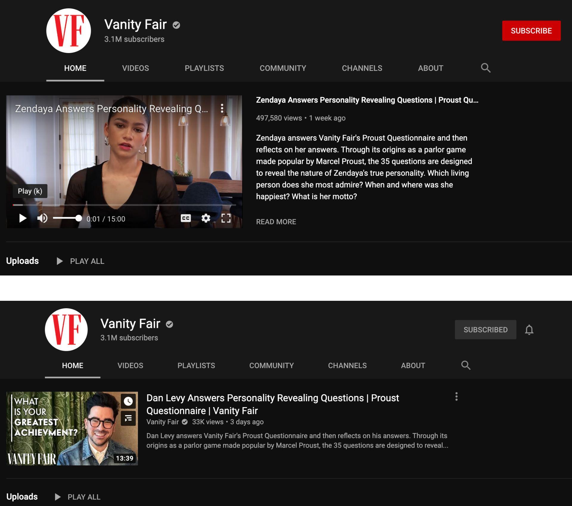 Screenshots des YouTube-Kanals von Vanity Fair, einer als Nicht-Abonnent und einer als Abonnent.