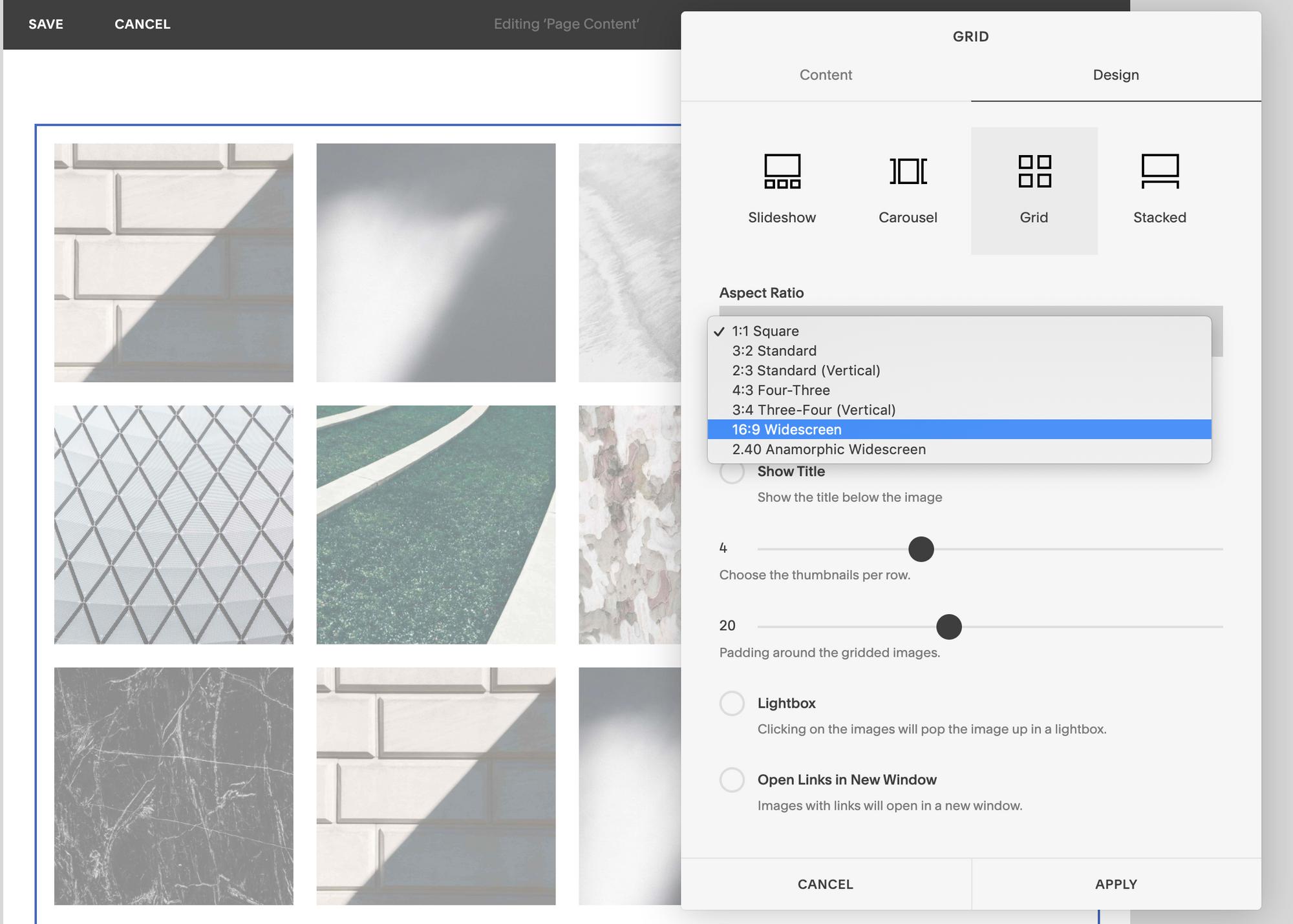 Ein Screenshot mit den Seitenverhältnisoptionen im Rasterblock von Squarespace.