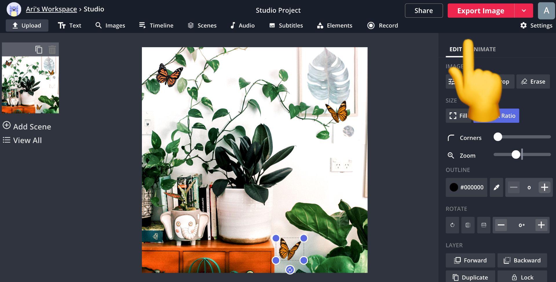 Screenshot von Kapwing Studio und ein Pfeil zum Exportieren des Bildes