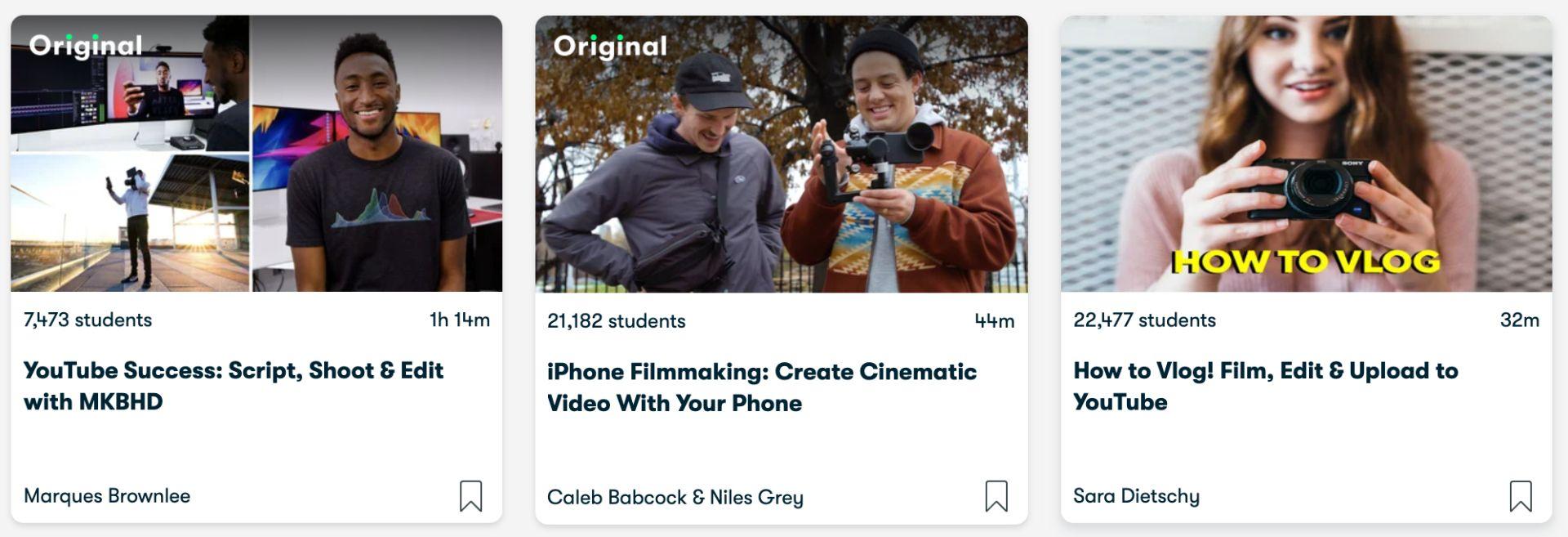 Bild-Teaser für Videobearbeitungskurse von MKBHD, Caleb Babcock und Niles Gray sowie Sara Dietschy.