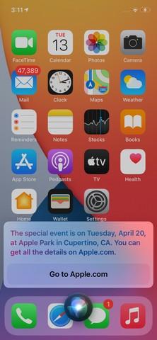 Siri enthüllt das nächste Apple-Event am 20. April