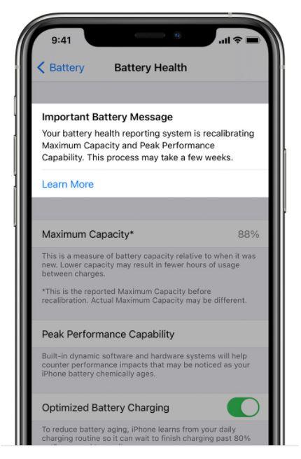 iOS 14.5 Neukalibrierung für den Prozentsatz des Batteriezustands
