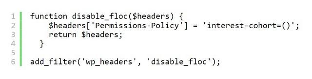 WordPress, um Google FLoC automatisch zu blockieren