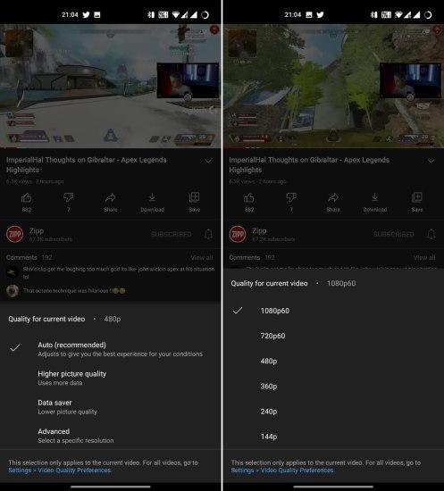 neue YouTube-Auflösungsoptionen