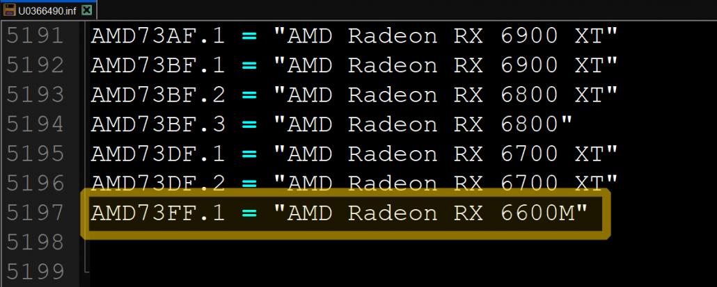 AMD Radeon RX 6600M RDNA 2 Navi 23 Mobilitäts-GPU