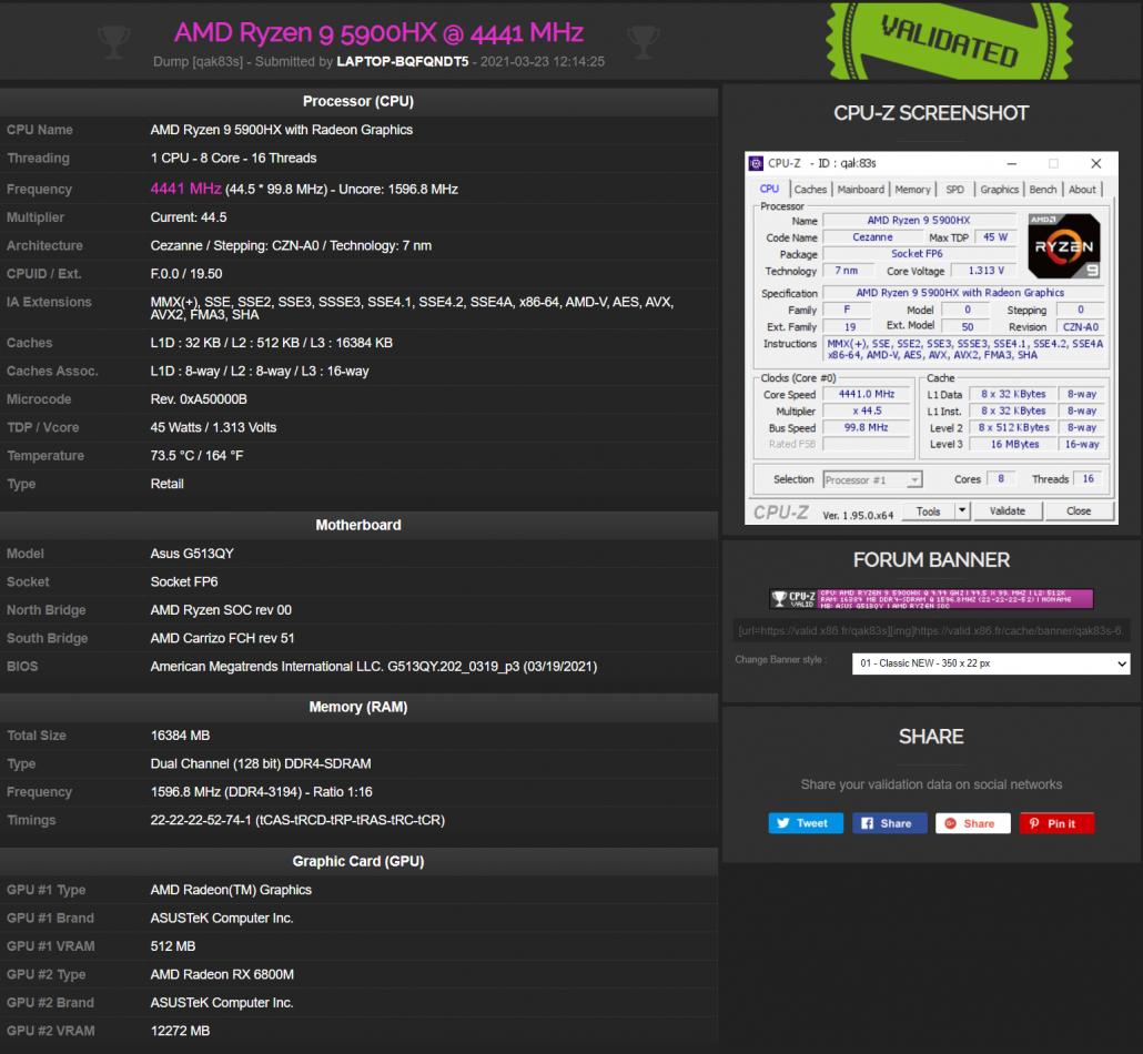 ASUS ROG STRIX G15 Notebook mit AMD Radeon RX 6800M RDNA 2 GPU und AMD Ryzen 9 5900HX CPU