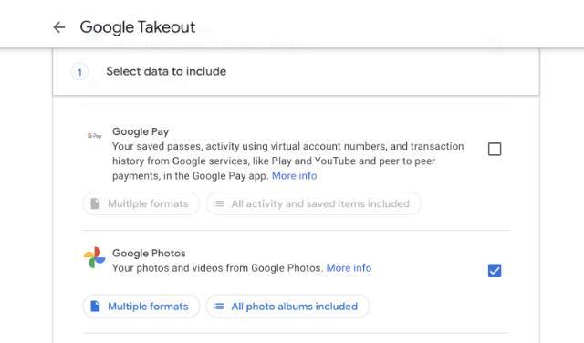 Wählen Sie Google Fotos zum Mitnehmen
