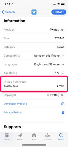 Twitter Blau im App Store bestätigt