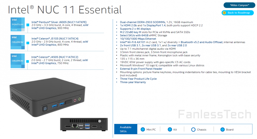 Intel NUC 11 Essential Atlas Canyon Mini-PC Mit Jasper Lake-CPUs